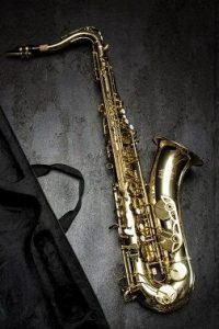 A saxophone which is next to his case.