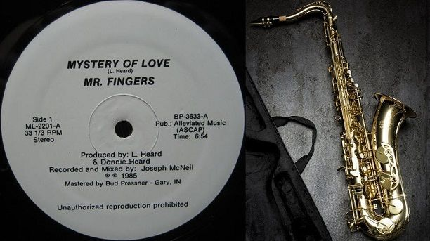 The first deep house music track ever, Mystery Of Love, and a saxophone.
