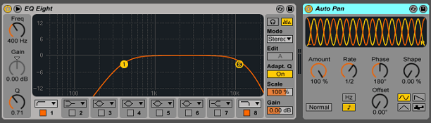 An AutoPan plugin after an EQ plugin