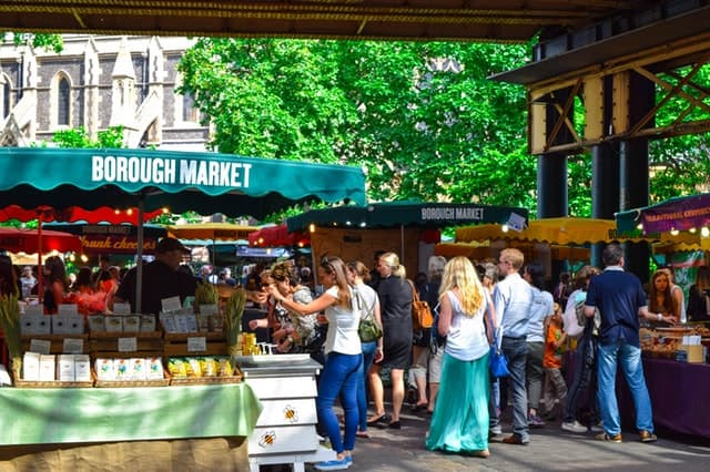 People on the Borough Market on a sunny day