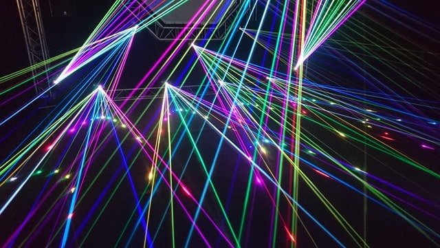 Laser lights inside a dark place