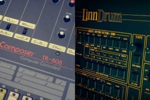 A part visible of the Roland TR-808 drum computer and also of the Linn Electronics LinnDrum drum computer