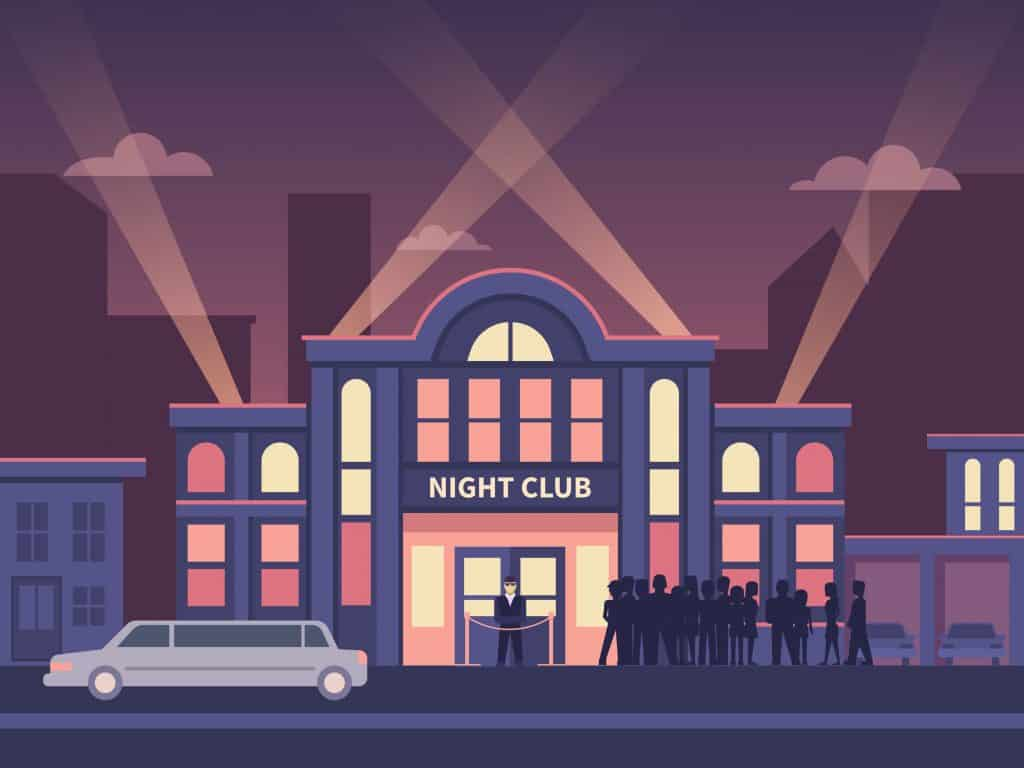 Building Night Club with Queue at the Entrance