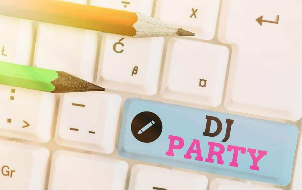 Writing note showing DJ Party