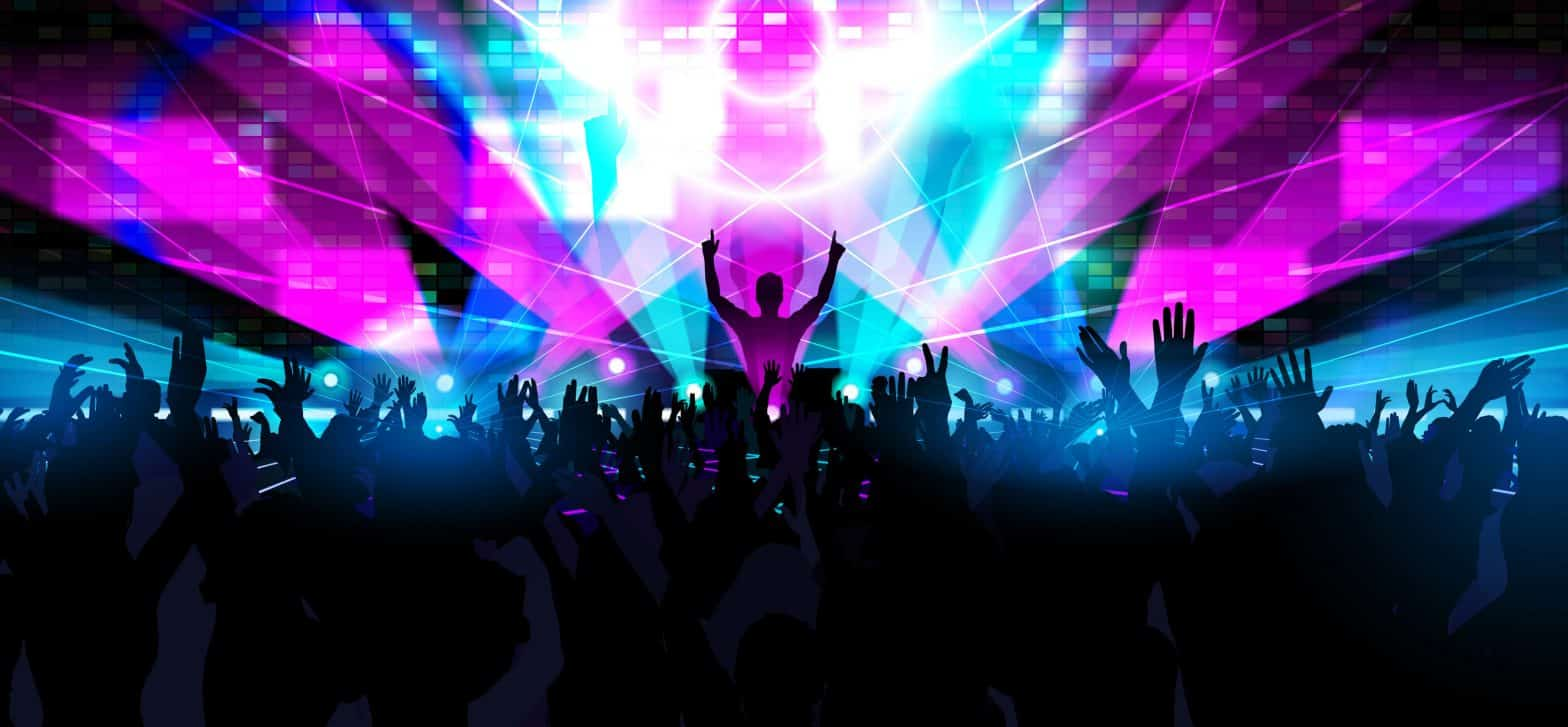 Electronic dance music festival with silhouettes of happy dancing people with raised hands
