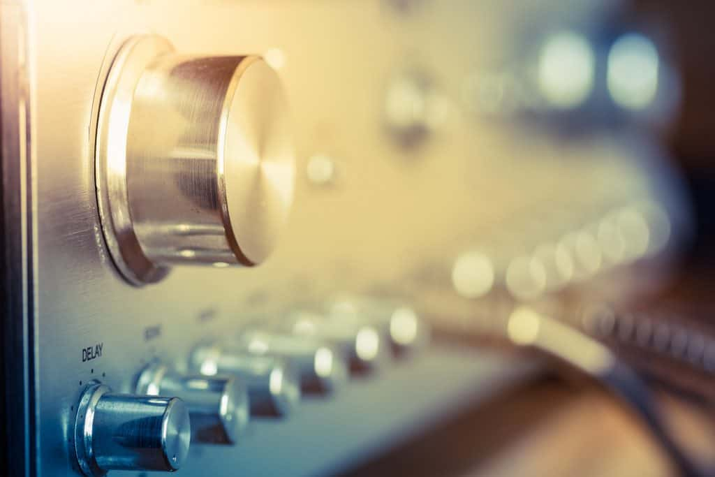 volume control knob of a vintage hi-fi amplifier